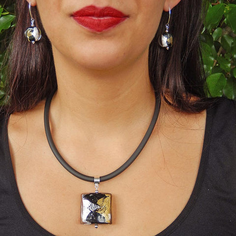 GLITTER modern art to wear murano glass statement necklaces with 24kt gold-leaf and 925 silver-leaf, handmade in Italy