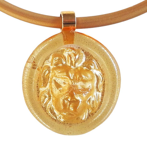 LION modern classic art to wear murano glass statement necklaces with 24kt gold-leaf or 925 silver-leaf on rubber tubino cord, handmade in Italy