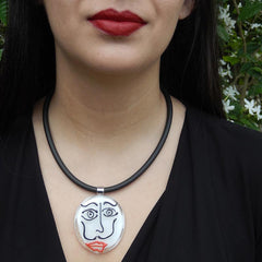 SKETCH#2 DALI fun black white red modern art to wear murano glass statement necklace on rubber tubino cord, handmade in Italy, inspired by artist Salvador Dali