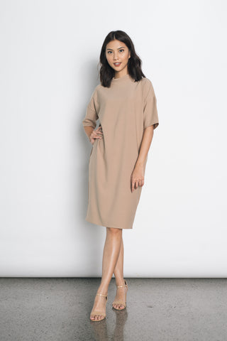 Jagna Balloon Sleeves Dress in Olive Green