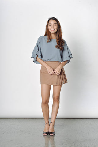 Essie Electric Pleated Mini Skorts in Khaki