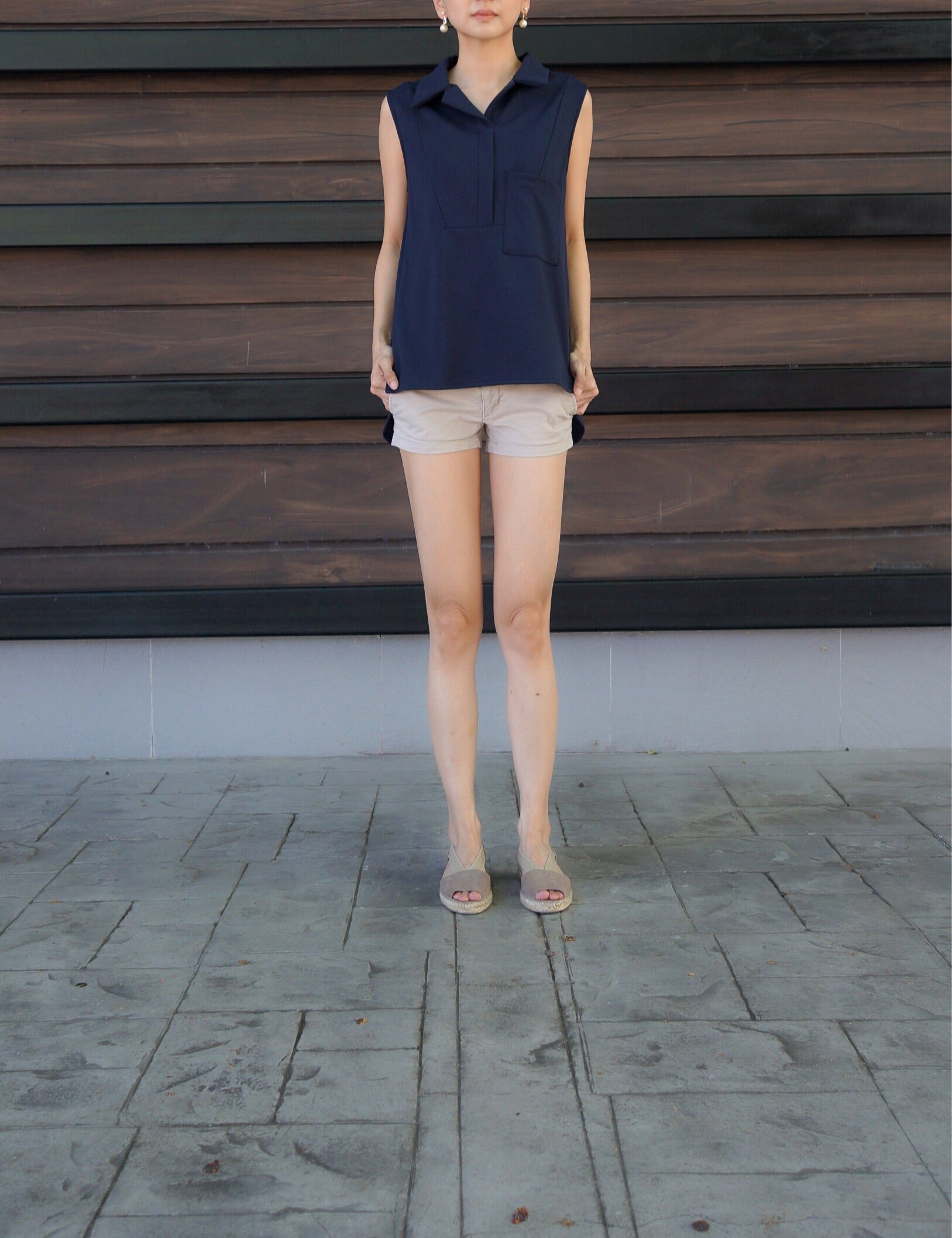 Jacobina Big Pocket Top in Navy