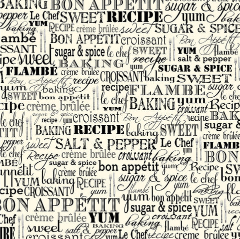 Farmhouse Kitchen: Black & Ivory Bon Appétit Paper