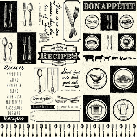 Black and Ivory Gourmet Words Paper