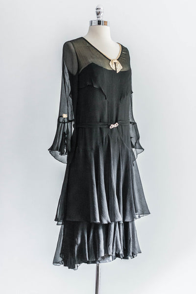 [SOLD] Crinkled Chiffon Flapper Dress