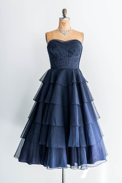 [SOLD] Tiered Navy Blue Dress