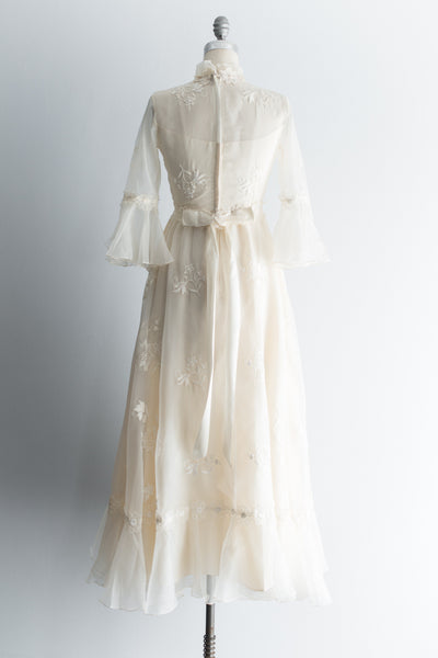 1970s Nylon Chiffon Applique Gown - S