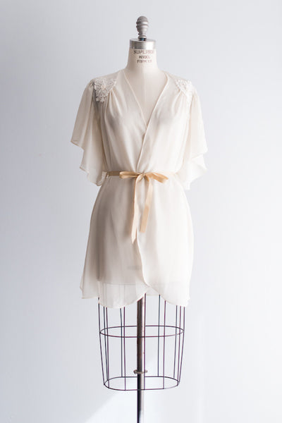 Vintage Cream Chiffon and Lace Robe - One Size