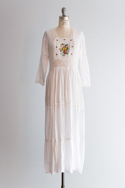 1970s Embroidered Cotton Linen Dress - S