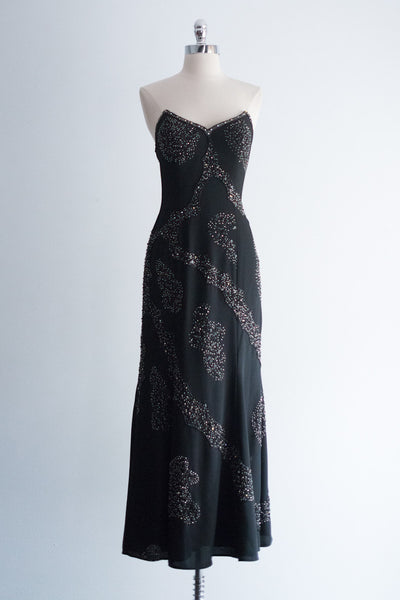 1980s Black Rayon Beaded Gown  - S