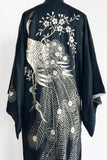 1930s Silk Embroidered Peacock Kimono - One Size