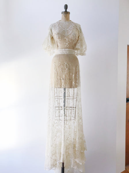 RESERVED Rare Edwardian Fine Detailed Tambour Lace Gown - S