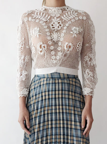 Antique Crochet Irish Lace Top - XS