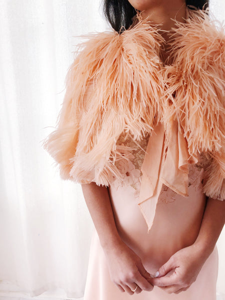 1920s/30s Peach Ostrich Feather Capelet - One Size