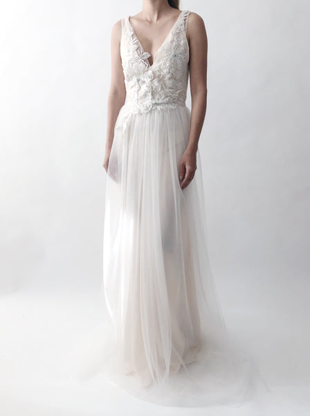 GOSSAMER Sheer Ivory Tulle Gown with Appliqué - 4/6
