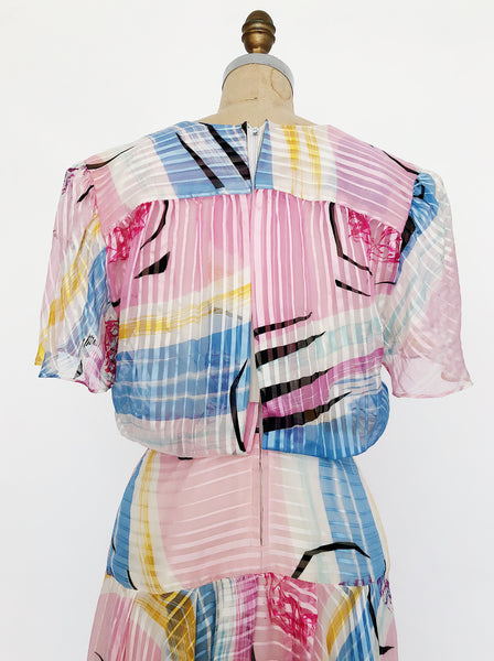 1980s Pink Abstract Print Silk Dress - S