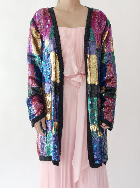 1980s Silk Sequins Abstract Jacket - M