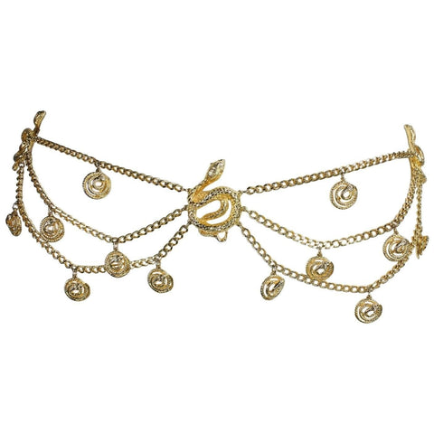 Vintage Gold-Toned Snake Chain Belt
