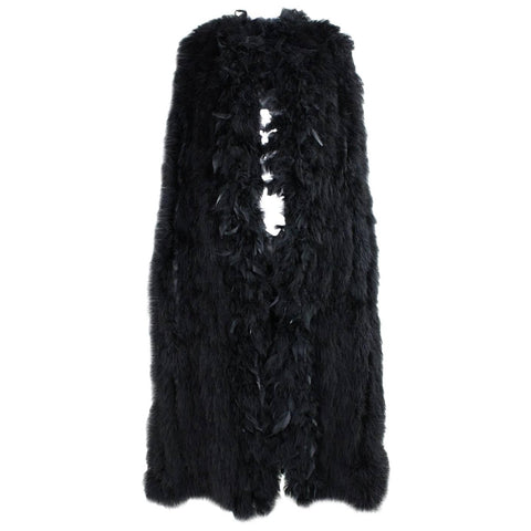 Vintage Black Full-Length Marabou Feather Cape
