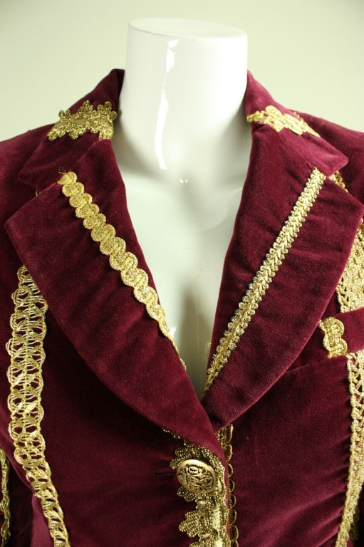Vintage Dolce & Gabbana Velvet Jacket With Gold Trim
