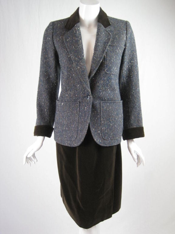 Vintage 1970's Yves Saint-Laurent Tweed & Corduroy Suit