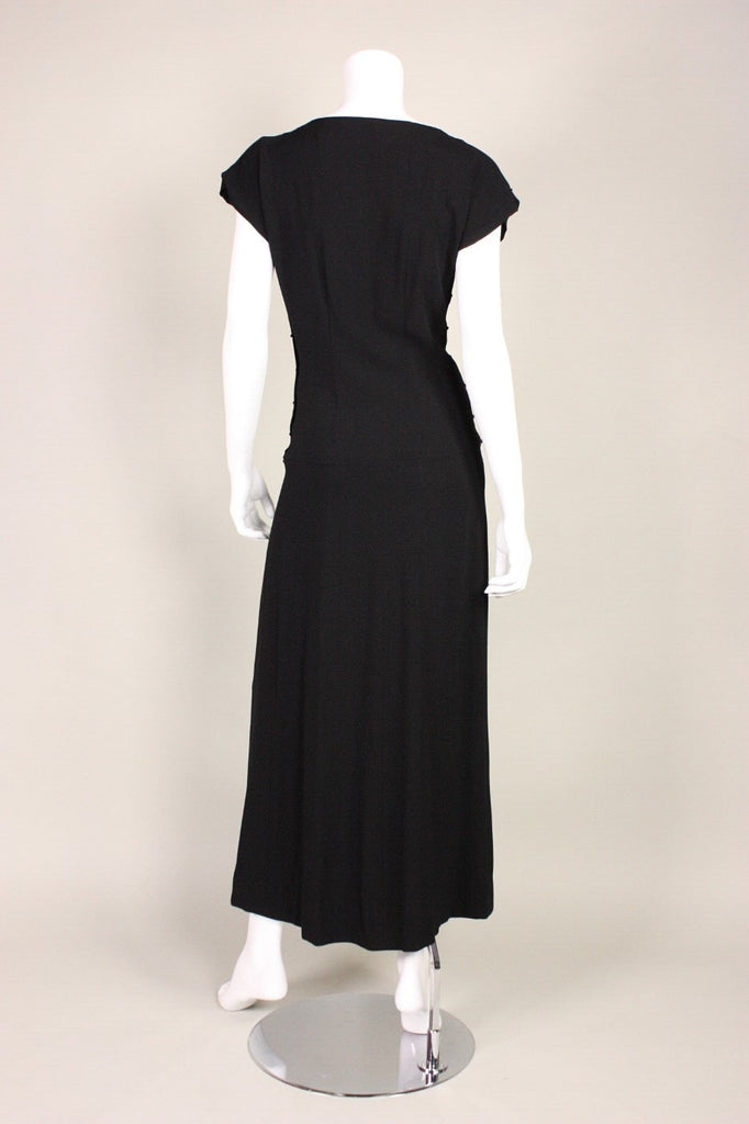 Vintage 1940's Sequined Black Crepe Gown