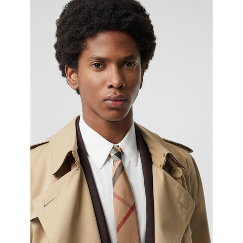 Burberry Tie Modern Cut Check Silk | Camel Check