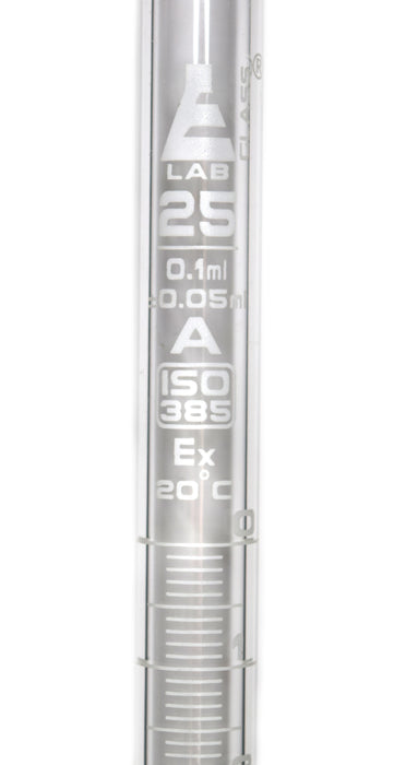 Burette, 25ml - Class A, DIN 385 Compliant, Borosilicate Glass with PTFE Key Stopcock, 0.10ml Graduations - Eisco Labs