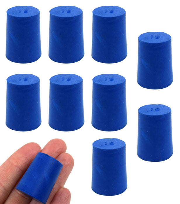 Neoprene Stopper Solid - Blue, Size: 19mm Bottom, 22mm Top, 28mm Length - Pack of 10
