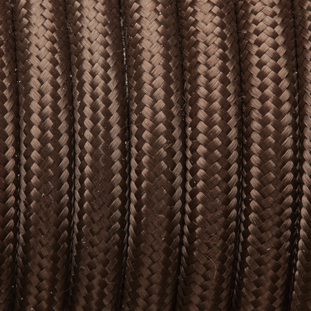 Dark Brown Round Fabric Flex - 3 Core Braided Cloth Cable Lighting Wire