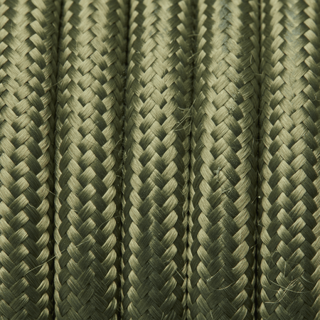 Sage Green Round Fabric Flex - 3 Core Braided Cloth Cable Lighting Wire