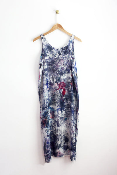 Blue Abstract Midi Tank Dress