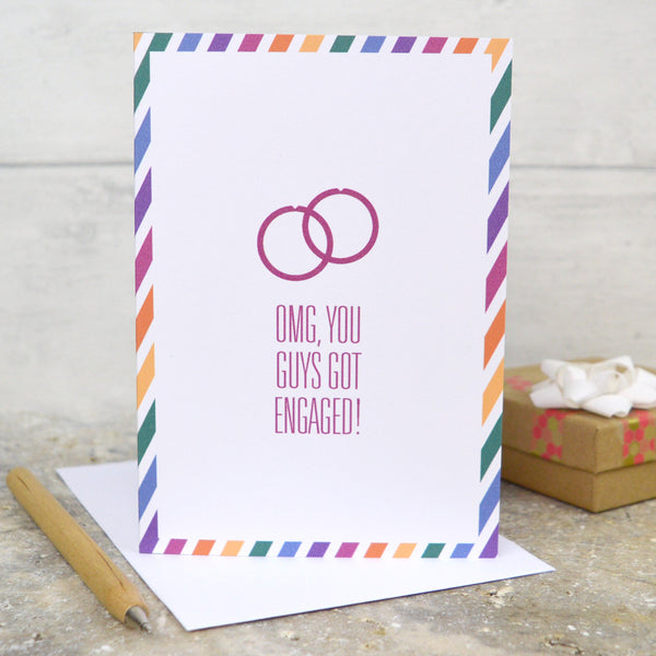 Same sex gay engagement card