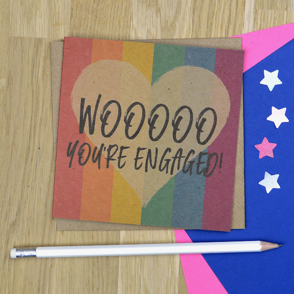 Same sex engagement card - Woooo You're Engaged!