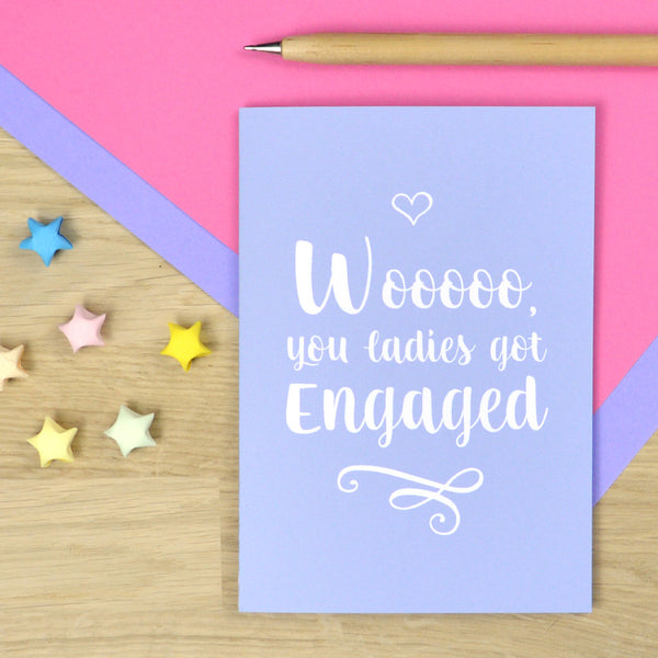 lesbian card, mrs and mrs card, lesbian engagement card