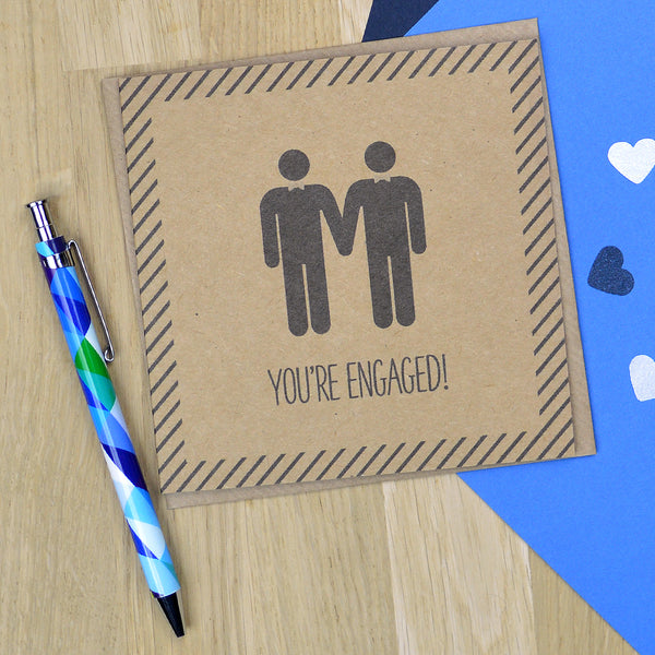 Same sex gay engagement card - You're Engaged! - Mr & Mr