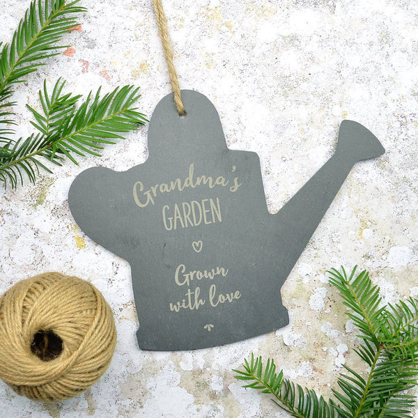 Personalised slate gardening sign, watering can garden sign, greenhouse sign, allotment sign
