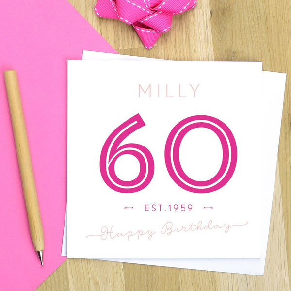 60th birthday card - milestone birthday, personalised 60th birthday, 60th card - various colours