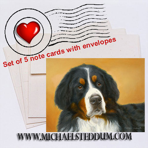Bernese Mountain Dog Oil Study Note Card Set