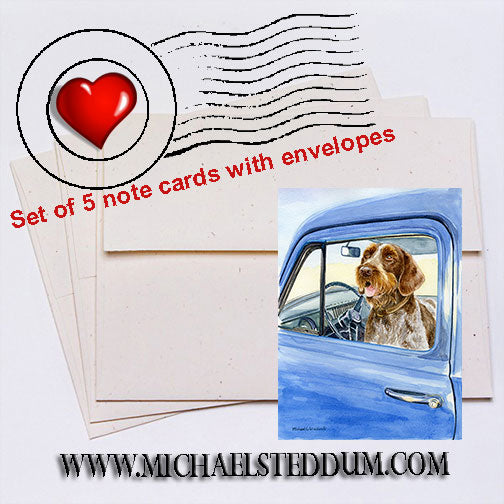 Sunday Driver, German Wirehaired Pointer Note Card Set