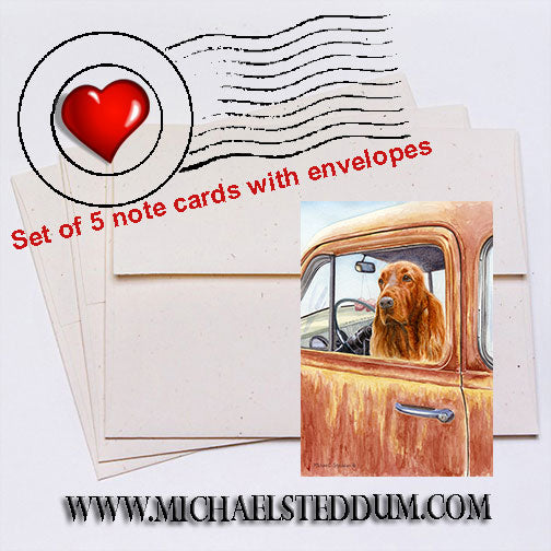 """Dusty Road"" Irish Setter Note Card Set"