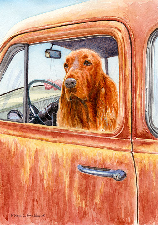 """Dusty Road"" A Limited Edition Irish Setter Print"