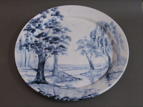"""On a Beautiful Landscape"" Platter, Hand Painted Porcelain by Mia Sarosi"