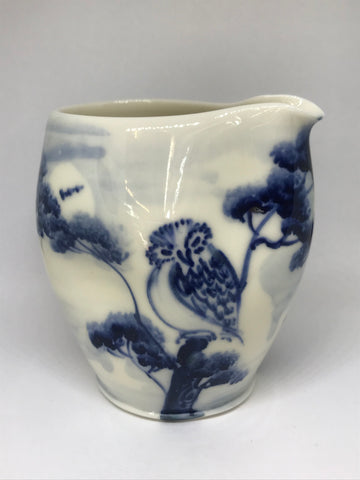 Owl Design Pourer, Hand-Painted Porcelain by Mia Sarosi