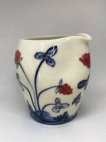 Bees and Flowers Design Pourer, Hand-Painted Porcelain by Mia Sarosi