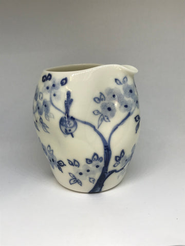 Birds in Trees Design Pourer, Hand-Painted Porcelain by Mia Sarosi