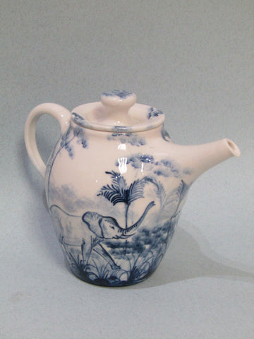 Elephant Design Teapot, Hand Painted Porcelain by Mia Sarosi