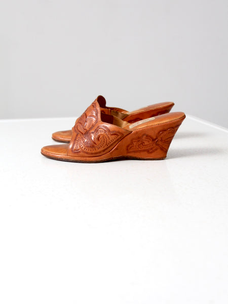 vintage 50s tooled leather wedges