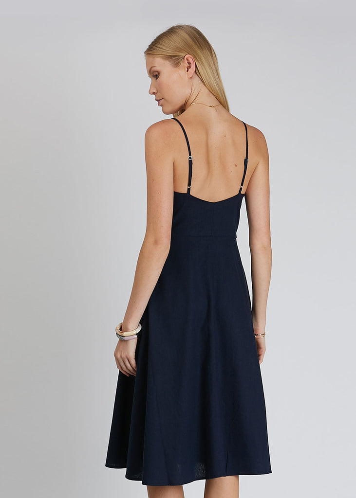 Midsummer Linen Dress Navy