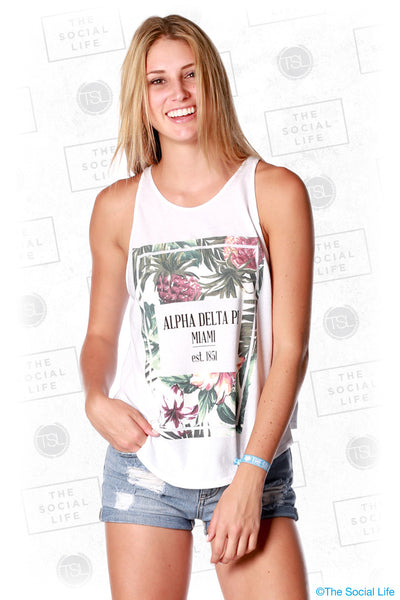 Alpha Delta Pi Tropical Box High Neck Tank